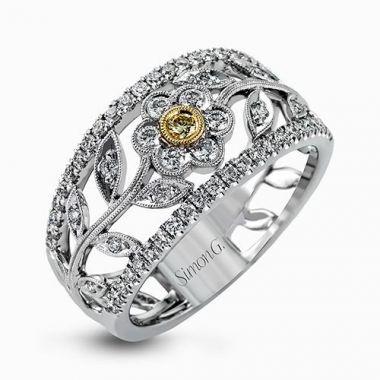 Simon G. 18k White Gold 0.57ctw Diamond Floral Band