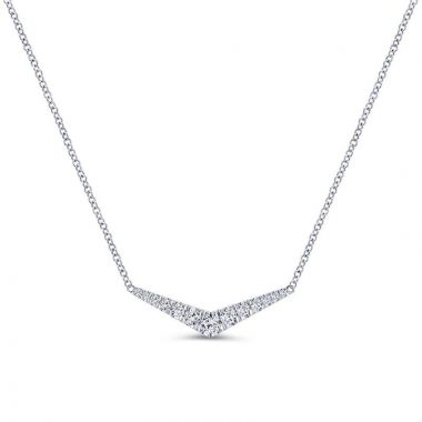 Gabriel & Co. 14k White Gold Lusso Diamond Bar Necklace