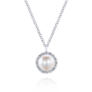 Gabriel & Co. 14k White Gold Grace Pearl & Diamond Necklace
