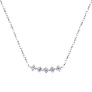 Gabriel & Co. 14k White Gold Art Moderne Diamond Bar Necklace