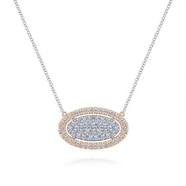 Gabriel & Co. 14k Two Tone Gold Lusso Diamond Necklace