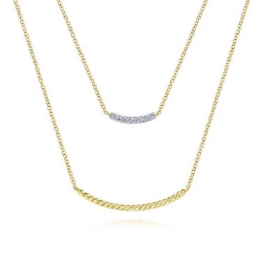 Gabriel & Co. 14k Yellow Gold Hampton Diamond Bar Necklace