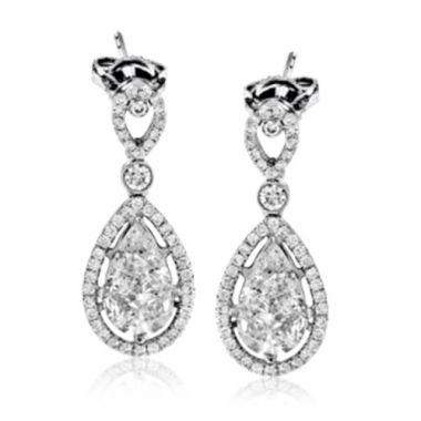 Simon G. 18k White Gold 2.51ct Diamond Drop Earrings