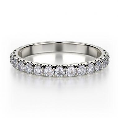 Michael M 18k White Gold Europa  Diamond Anniversary Women's Wedding Band