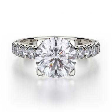 Michael M 18k White Gold Europa Diamond Engagement Ring