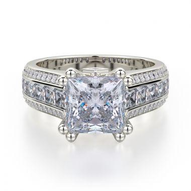 Michael M 18k White Gold Princess Diamond Straight Engagement Ring