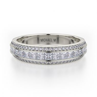 Michael M 18k White Gold Princess Diamond Women's Wedding Band
