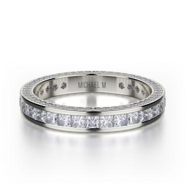 Michael M 18k White Gold Diamond Eternity Women's Wedding Band