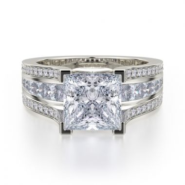 Michael M 18k White Gold Princess Diamond Engagement Ring