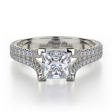 Michael M 18k White Gold Europa Diamond Split Shank Engagement Ring