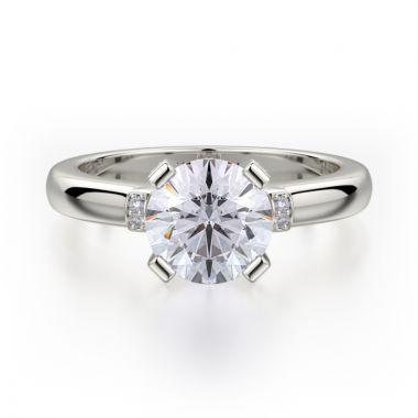 Michael M 18k White Gold Love Diamond Solitaire Engagement Ring