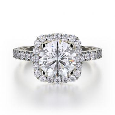 Michael M 18k White Gold Monaco Diamond Halo Engagement Ring