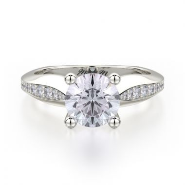 Michael M 18k White Gold M Diamond Straight Engagement Ring