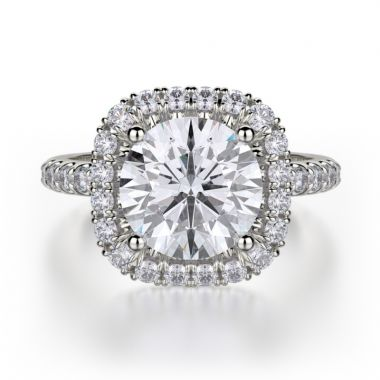 Michael M 18k White Gold Europa Diamond Halo Engagement Ring