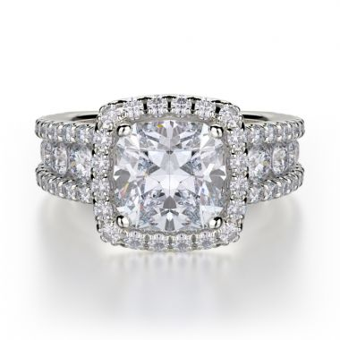 Michael M 18k White Gold Princess Diamond Halo Engagement Ring
