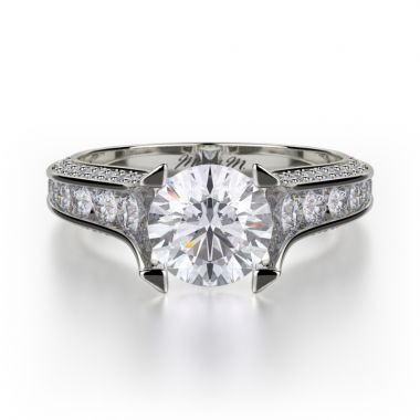 Michael M 18k White Gold Strada Diamond Straight Engagement Ring
