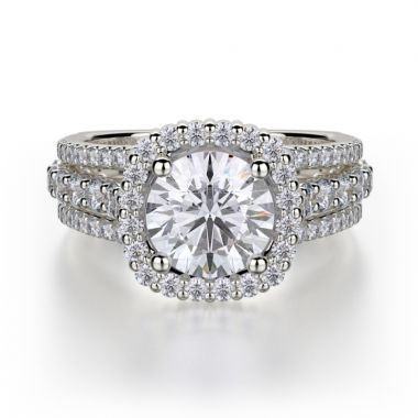 Michael M 18k White Gold Stella Diamond Halo Engagement Ring