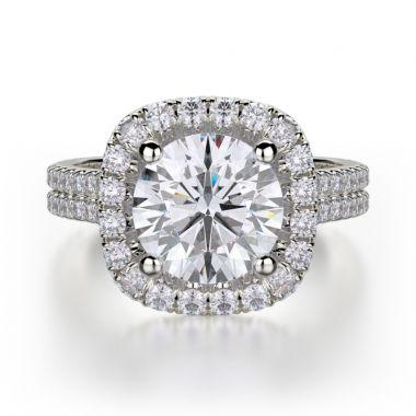 Michael M 18k White Gold Europa Diamond Halo Engagement Ring