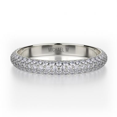 Michael M 18k White Gold Crown  Diamond Anniversary Women's Wedding Band