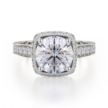 Michael M 18k White Gold Crown Diamond Halo Engagement Ring