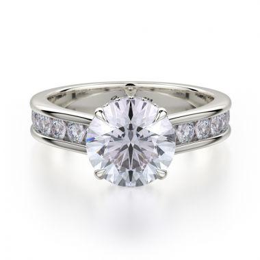Michael M 18k White Gold Crown Diamond Straight Engagement Ring