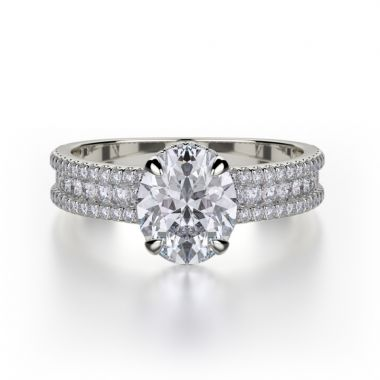 Michael M 18k White Gold Europa Diamond Straight Engagement Ring