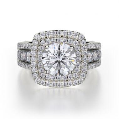 Michael M 18k White Gold Loud Diamond Double Halo Engagement Ring