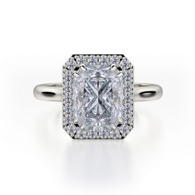 Michael M 18k White Gold Bold Diamond Halo Engagement Ring