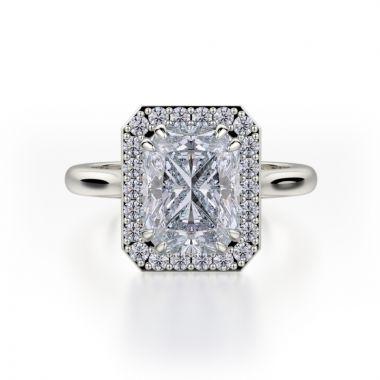 Michael M 18k White Gold Bold Diamond Halo Engagement Ring