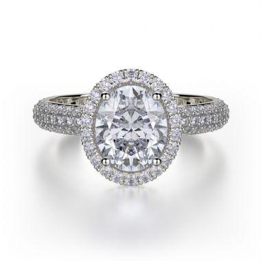 Michael M 18k White Gold Defined Diamond Halo Engagement Ring