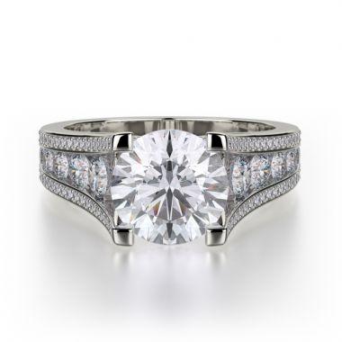 Michael M 18k White Gold Loud Diamond Straight Engagement Ring