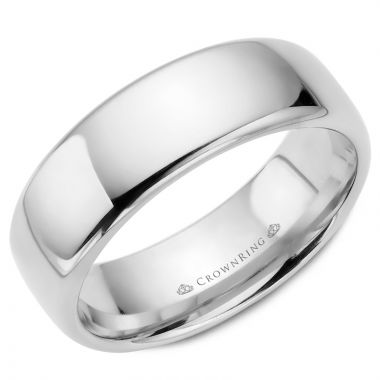 CrownRing 14k White Gold Traditional 7.5mm Wedding band