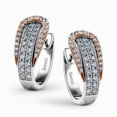Simon G. 18k White Gold Diamond Earrings