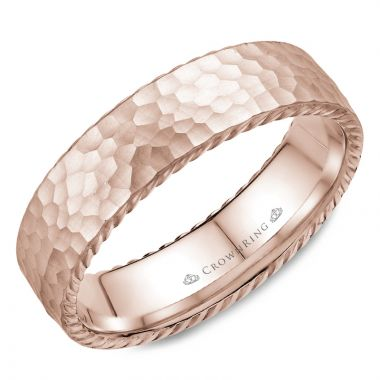 CrownRing 14k Rose Gold Rope 6mm Wedding band