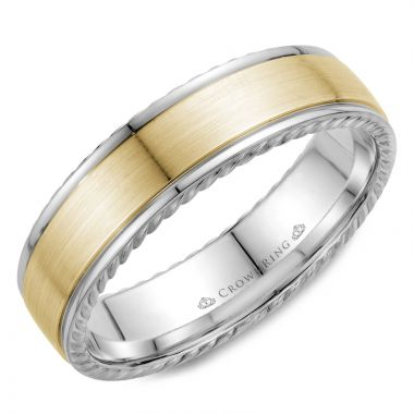 CrownRing 14k Two Tone Gold Rope 6mm Wedding band