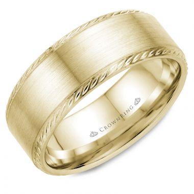 CrownRing 14k Yellow Gold Rope 8mm Wedding band