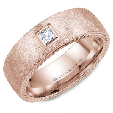 CrownRing 14k Rose Gold Diamond Rope 8mm Wedding band