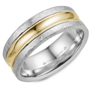 CrownRing 14k Two Tone Gold Carved 8mm Wedding Band