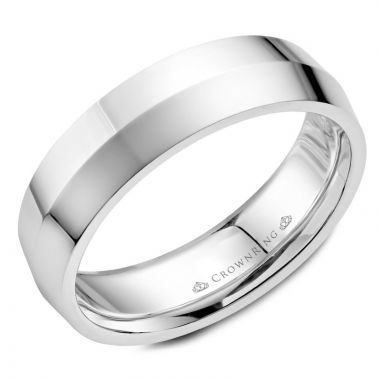 CrownRing 14k White Gold Carved 6mm Wedding Band