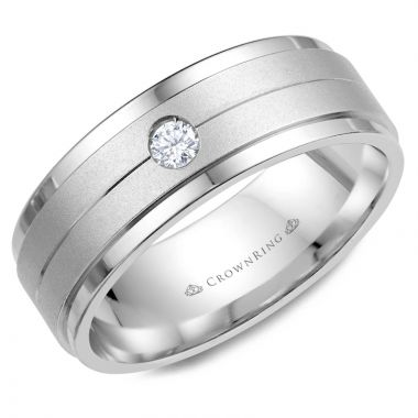 CrownRing 14k White Gold Diamond 8mm Wedding band