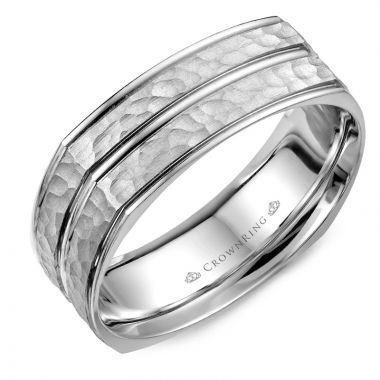 CrownRing 14k White Gold Carved 7mm Wedding Band