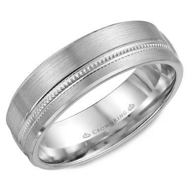 CrownRing 14k White Gold Carved 6.5mm Wedding Band