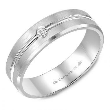 CrownRing 14k White Gold Diamond 6mm Wedding band