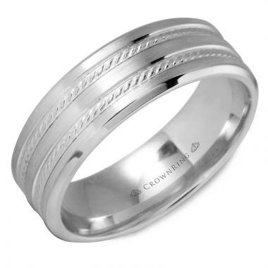 CrownRing 14k White Gold Carved 7mm Wedding Band