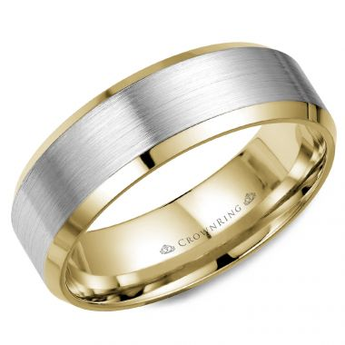 CrownRing 14k  Two Tone Gold Classic 7mm Wedding Band