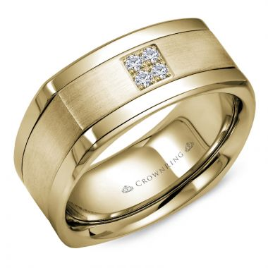 CrownRing 14k Yellow Gold Diamond 9mm Wedding band