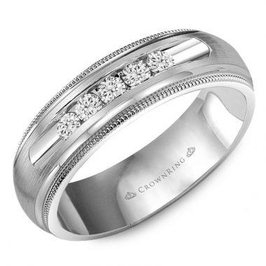 CrownRing 14k White Gold Diamond 6.5mm Wedding band