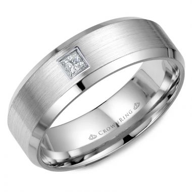 CrownRing 14k White Gold Diamond 7mm Wedding band