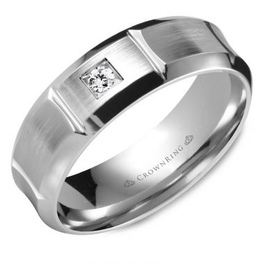 CrownRing 14k White Gold Diamond 7mm Wedding band
